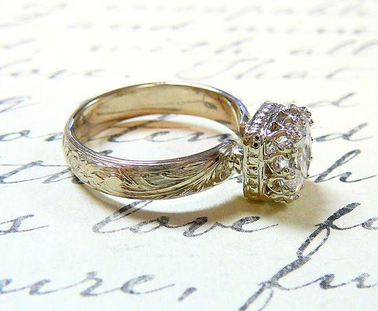 ? 14k White Gold Vintage Antique Floral Engagement Ring