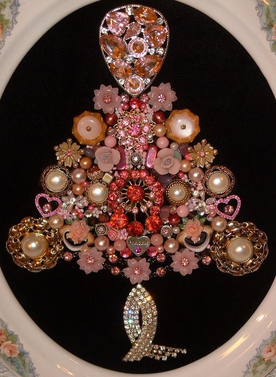 SALE - Vintage Jewelry PINK PRINCESS Christmas Framed Jeweled Christmas Tree -. $95.00, via Etsy.