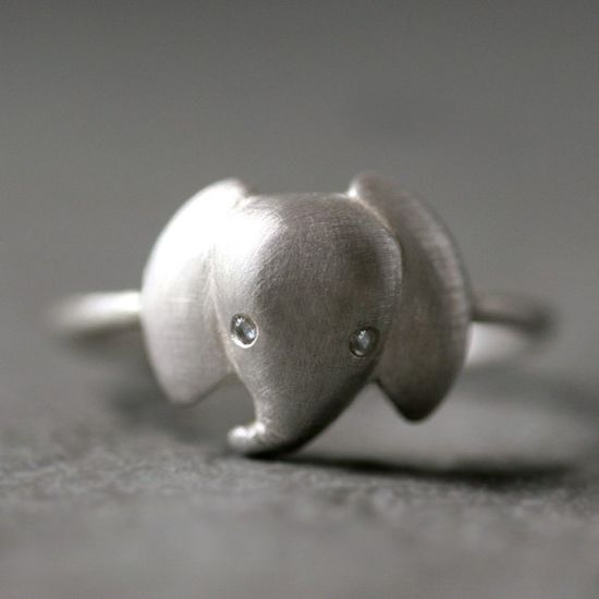 Baby Elephant Ring in Sterling Silver with Diamonds