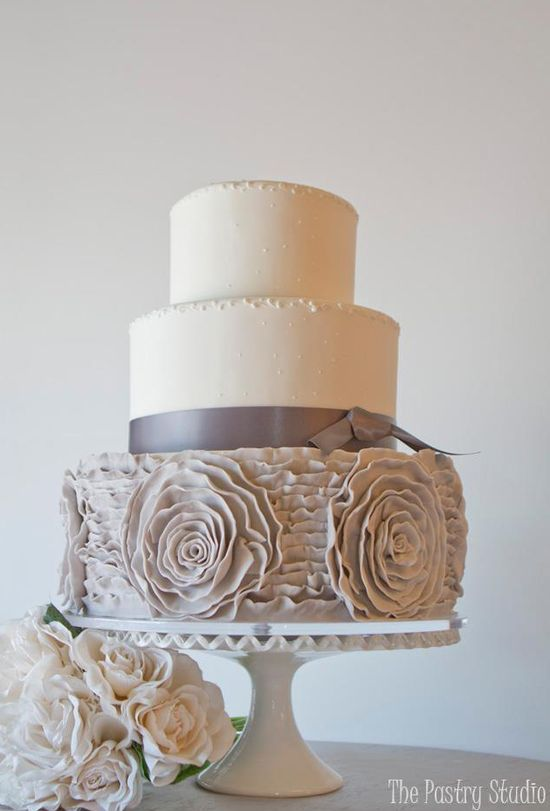 Romantic Wedding Cake of Silver Grey Frills & Roses
