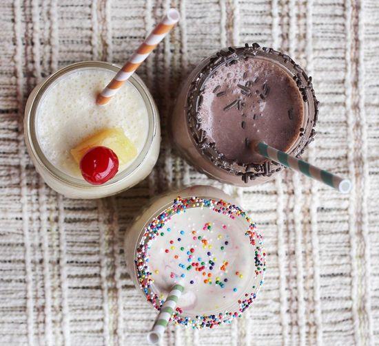 Cake batter milk shakes:  abeautifulmess.ty...