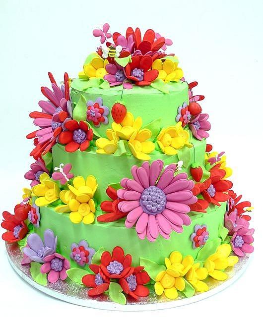 Flower Power Wedding Cake by konditorandcook, via Flickr