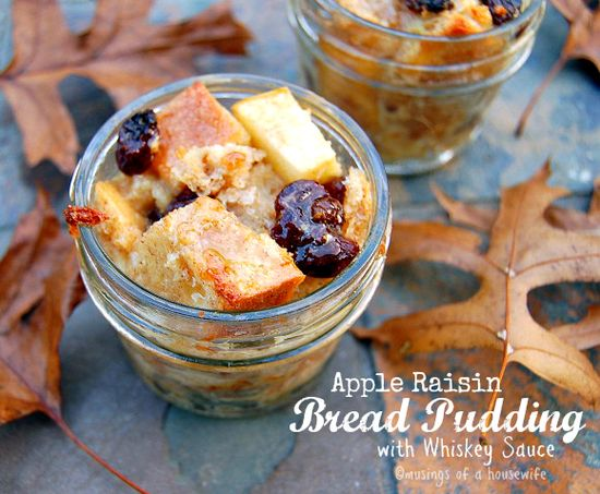 Apple Raisin Bread Puddings with Whiskey Sauce #Bake4Better