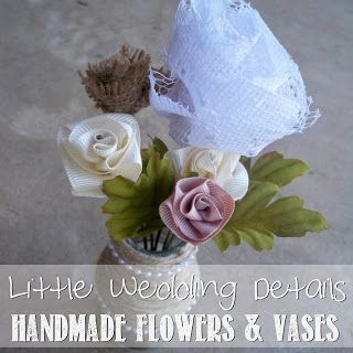 Chic Handmade Flowers and Vases from recycled jars and bottles. #ChicWedding #WeddingFlowers #HandmadeFlowers #RecycledWedding