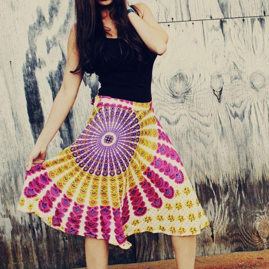 Hippie Chakra Wrap Skirt ECO Genie Boho Hippie by Cloud9Jewels, $30.00