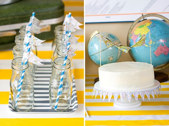 Cute decor for a Bon Voyage party