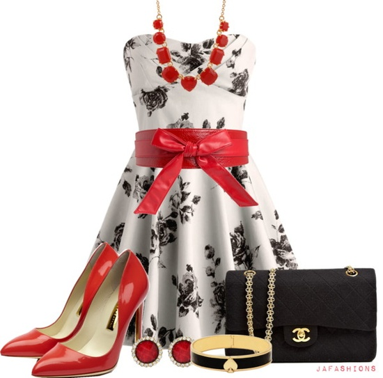 """Red & Black Glam"" by jafashions on Polyvore"