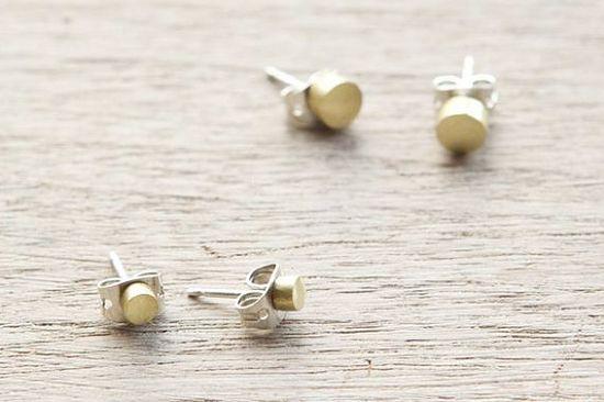 Brass stud earrings.