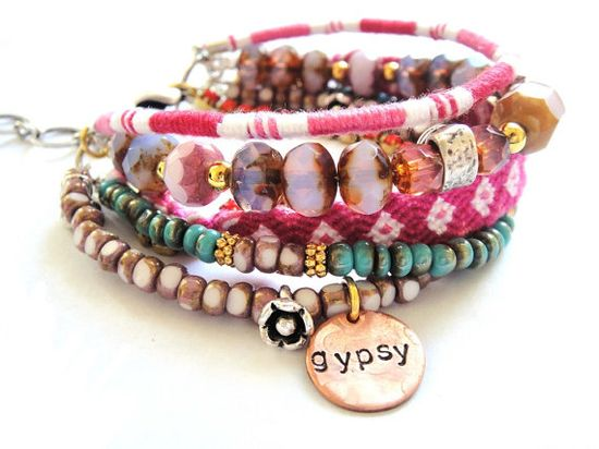 Bohemian hippie multi-stranded stacked bracelet: Pink blends really well with earth hues and turquoise. #boho #gypsy #jewelry #jewellery