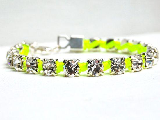 Neon Bracelet Brilliant Austrian Crystal Rhinestones by delmarlady, $32.00