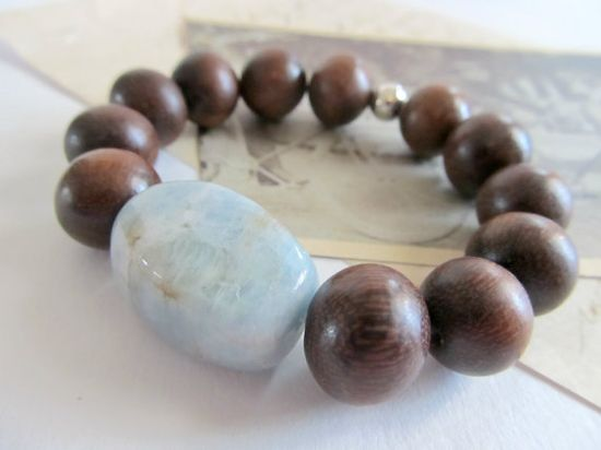 Beaded wood and jade stretch bracelet by SeptemberWillow on Etsy