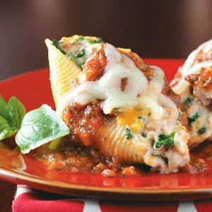 Sausage/Cheese stuffed shells - these are super creamy cuz they have cream cheese too!  Maybe I'll make these with Spinach instead...