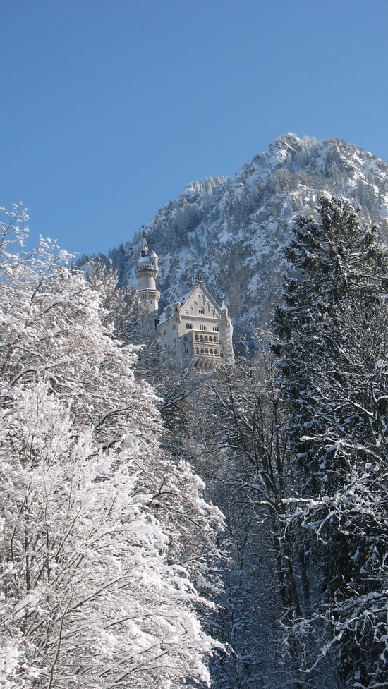 Looking up towards Neuschwanstein Castle, Germany