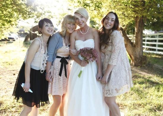 laid back picnic wedding ~ love the nude lace bridesmaids dresses su.pr/28xIZ1