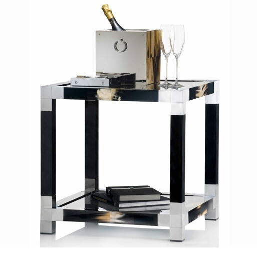 Hollywood Luxe Italian Black Polished Horn & Chrome Side Table Luxury Interiors, Designer Furniture & Beautiful Home Decor Enjoy & Be Inspired More Beautiful Hollywood Interior Design Inspirations To Repin & Share @ InStyle-Decor.com Beverly Hills Happy Pinning