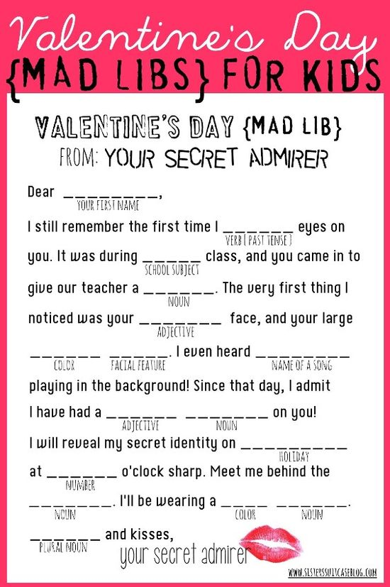Valentine's Day Mad Libs {free printable} from www.sisterssuitca... #valentines #printable