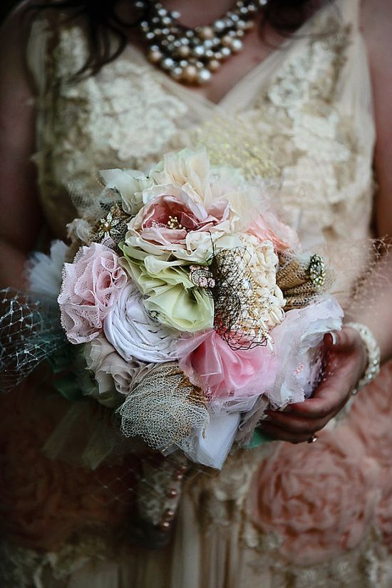 #Eco Friendly #wedding #bouquet, #whimsical, #upcycled, #fabric #bouquet #vintage #recycled #pink #dusty #taupe #champagne #ivory #handmade #custom