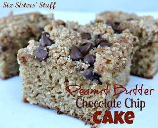 Delicious Peanut Butter and Chocolate Chip Cake by Sixsistersstuff.com #peanut butter #cake #recipe