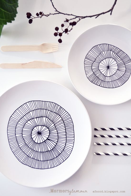 DIY: recycle, upcycle old porcelain plates by buying porcelain pens and creating art or writing on them. From Mormorsglamour blog.