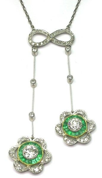 Art Deco Platinum Diamond and Emerald Pendant