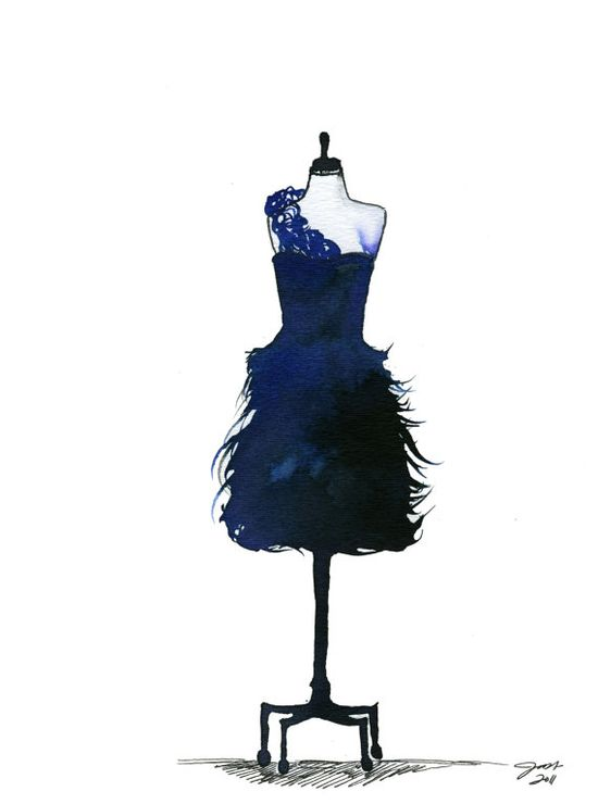 Blue Midnight Dress print, #fashion #watercolor #blue