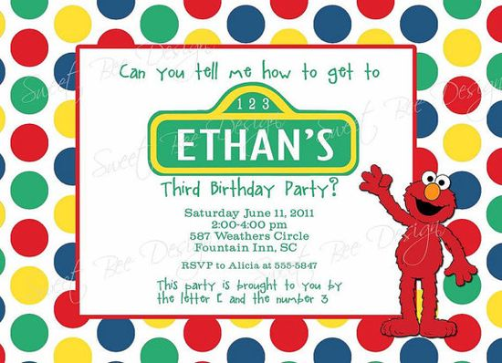 Sesame street birthday party invites