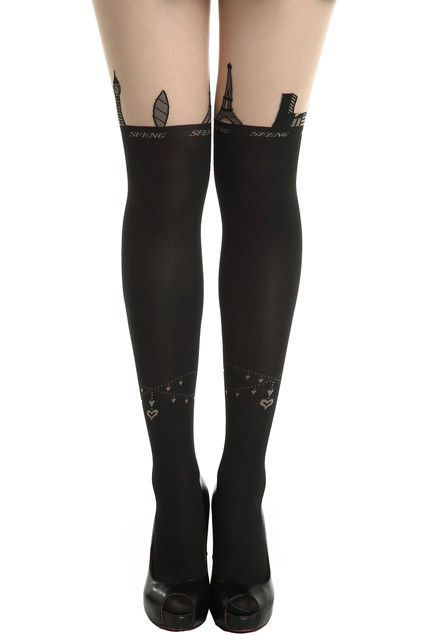 EIFFEL TOWER AND BRACELET TATTOO PATTERN TIGHTS