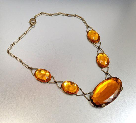 Czech Glass Art Deco Necklace Topaz Vauxhall Glass by boylerpf, $95.00