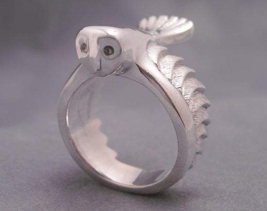 Silver barn owl ring
