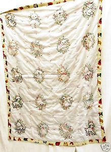 Vintage Hand Embroidered Crib Quilt Baby Animal Childs Blanket 41 x 55 inches