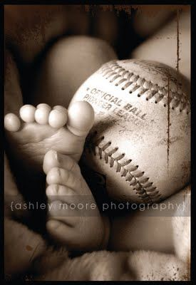 Baby picture with baseball, soccer ball would be great for our family.