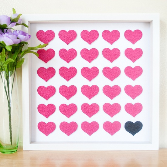 Embossed Hot Pink Hearts 3D art!
