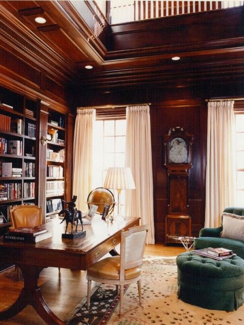 Must have a grandfather clock in a library office/den