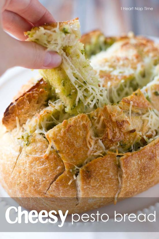Mouthwatering cheesy pesto bread! The BEST!  #food #appetizer