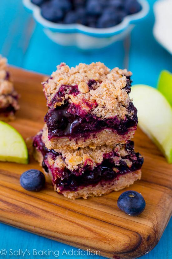 Apple Blueberry Pie Bars. Like a crumb pie in bar form - so much easier to make bars instead of a pie.  No mixer required, use any fruit you like!  sallysbakingaddic...