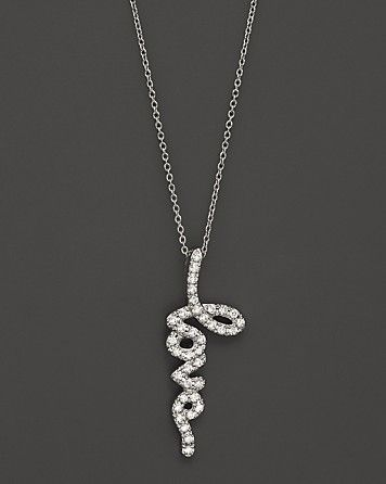 Diamond Love Pendant in 14K White Gold, .35 ct. t.w.