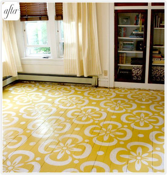 painted colorful diy floors interior design decor blue yellow