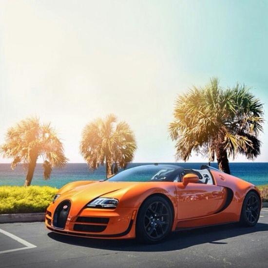 Front of this Tropicana Orange Bugatti Veyron!