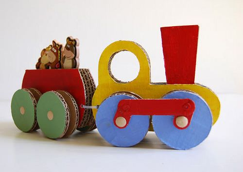 DIY cardboard learning toys made of diaper boxes