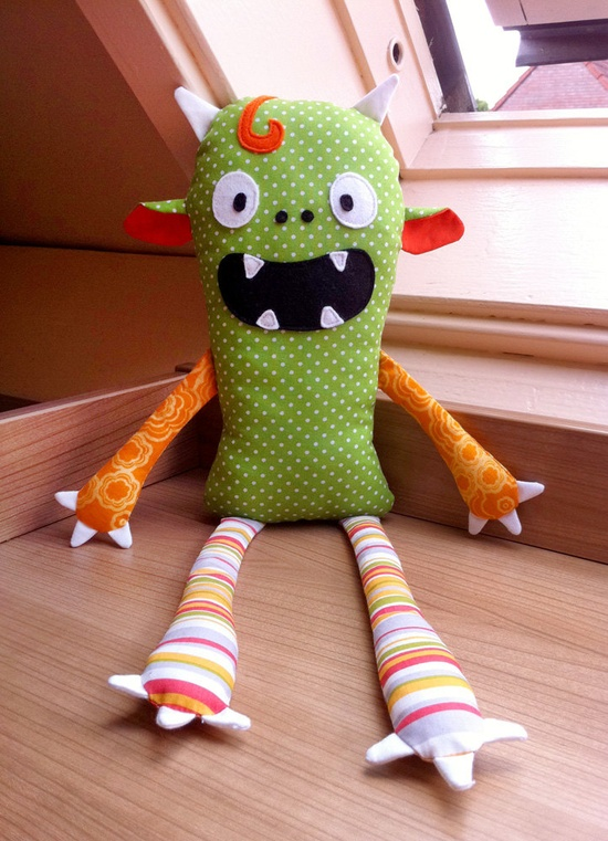 Monster Doll pdf sewing pattern - Halloween softie Stuffed toy