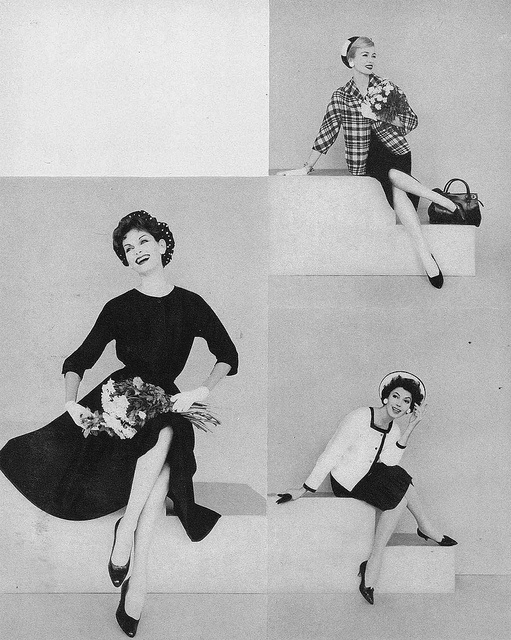Three lovely, very wearable daywear looks from March 1958. #vintage #fashion #1950s