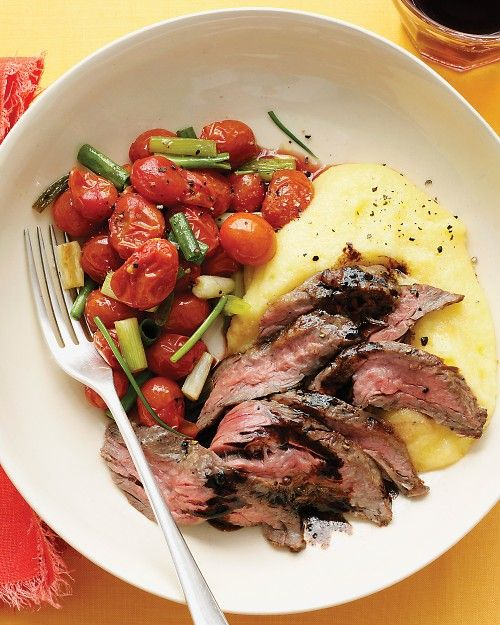balsamic skirt steak with polenta and roasted tomatoes