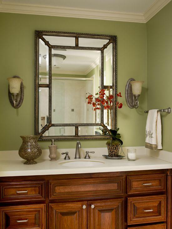 Green bathroom. Interior design. Valerie Garrett Interior Design. Macon, GA.