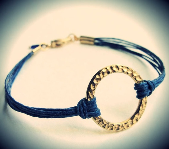 Harmony bracelet on linen cord...you pick the color! $18 (uh huh). From JewelryByMaeBee on Etsy.