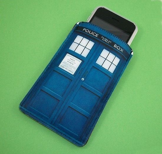seems like the perfect place for technology. Dr. Who cell phone sleeve.