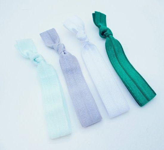 Elastic Hair Ties Set of 4 Green
