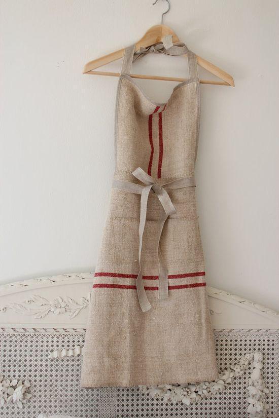 Vintage Grain Sack Apron!!  Too cute!