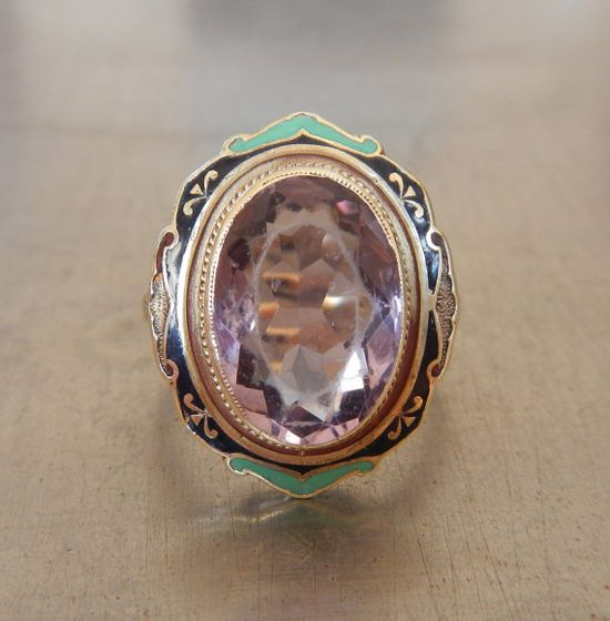Antique Amethyst and Enamel Cocktail Ring by AntiqueSparkle, $585.00