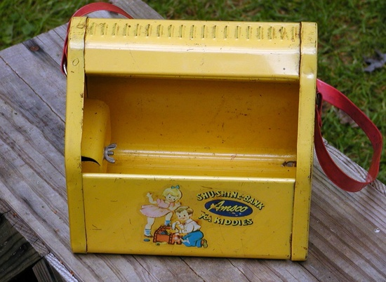 Vintage Tin Bank Shoe Shine In Yellow - Childs Toy