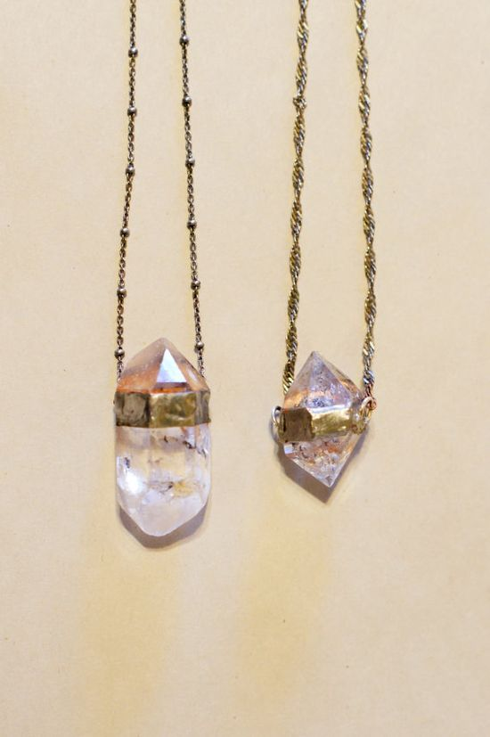 raw quartz necklaces from evidence jewelry.